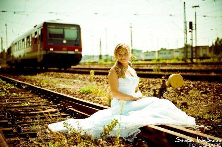 Hochzeitsshooting im Bahnhof